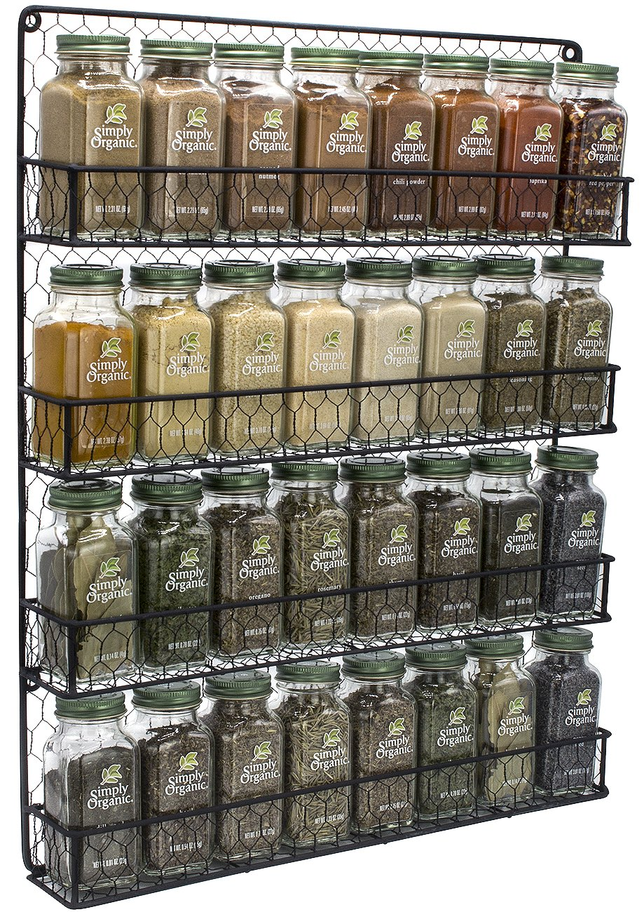 Sorbus Organizer [4 Tier] Country Rustic Chicken Herb Holder, Wall Mounted Storage Rack, Perfect for Storing Spices, Household Items and More (Black),