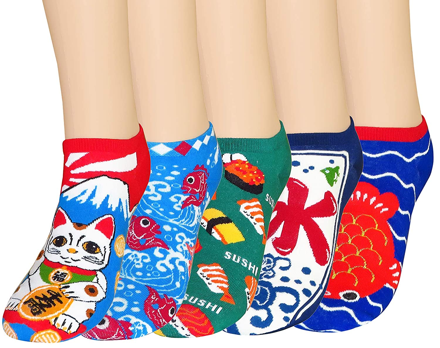 FULIER Women's Low Cut Cute Colorful Design Cotton Ankle Liner Socks