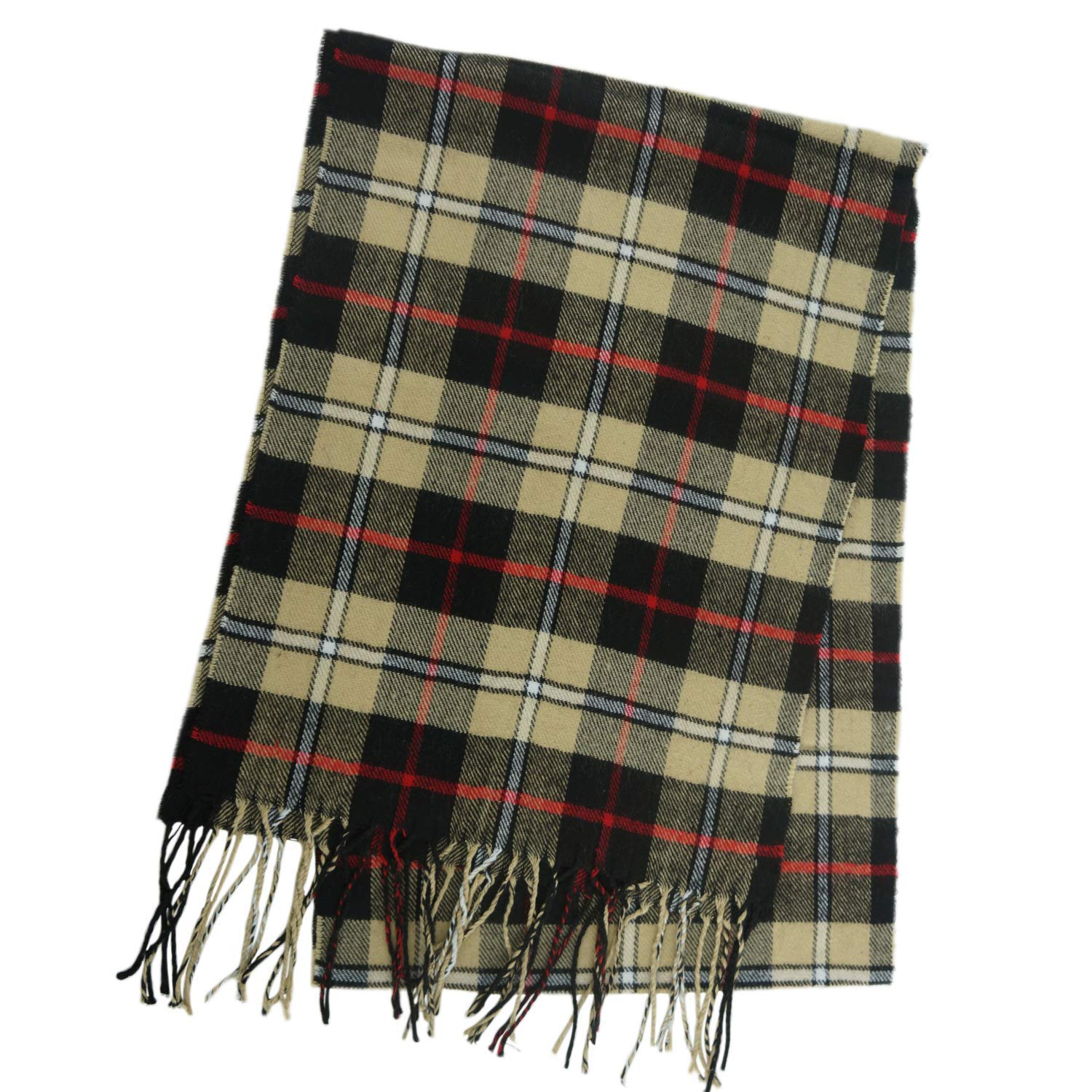 Black   Tan Plaid Unisex Plaid Cashmere Feel Winter Scarf 7 Comets
