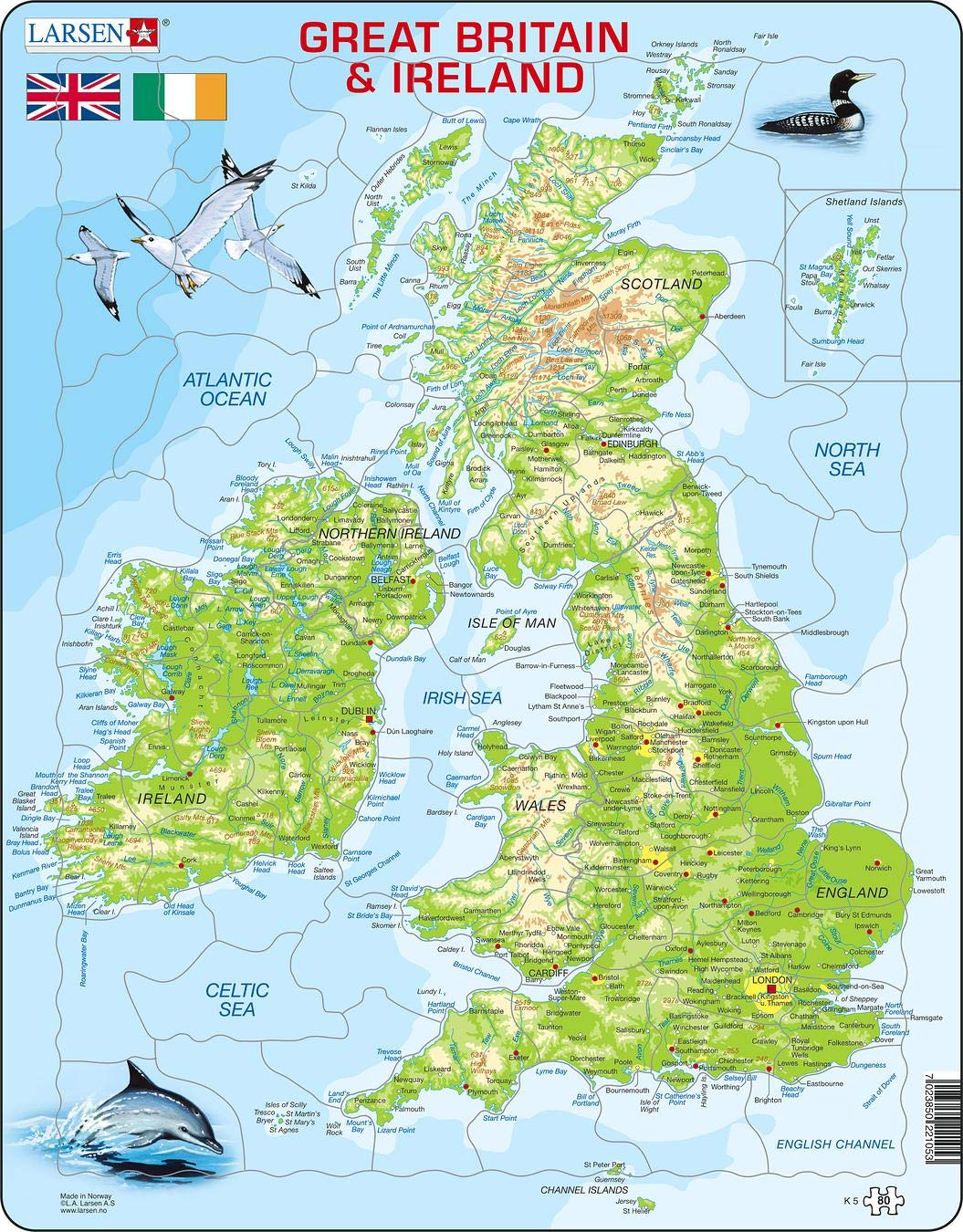 High Quality Map Of Ireland.Larsen K5 Great Britain Ireland Physical Map Jigsaw Puzzle With 80 Pieces English Edition
