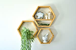 Farmhouse Chic Wall Hexagon Floating Shelves – Set of 3 – Small, Medium and Large – Screws and Anchors Included - Rustic or Modern Shelves, Home, Office, Kitchen – Honeycomb Wall Decor - Dark Natural