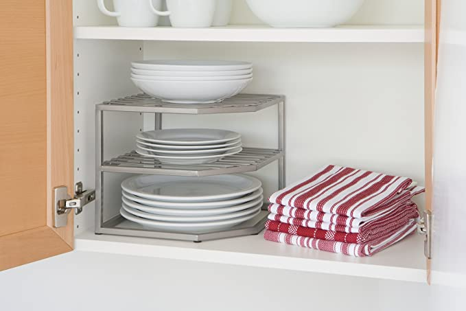 Amazon.com - Seville Classics 2-Tier Corner Shelf Counter and Cabinet Organizer Platinum - Cabinet Organizers  sc 1 st  Amazon.com & Amazon.com - Seville Classics 2-Tier Corner Shelf Counter and ...