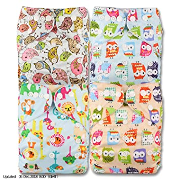 Set of 4 Fastener: Hook-Loop Patterns 404 Reusable Pocket Cloth Nappy with 4 Microfibre Inserts Littles /& Bloomz