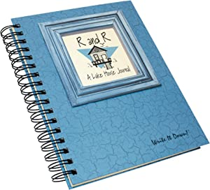 """Journals Unlimited """"Write it Down!"""" Series Guided Journal, R and R, A Lake House Journal, with a Blue Hard Cover, Made of Recycled Materials, 7.5""""x 9"""""""