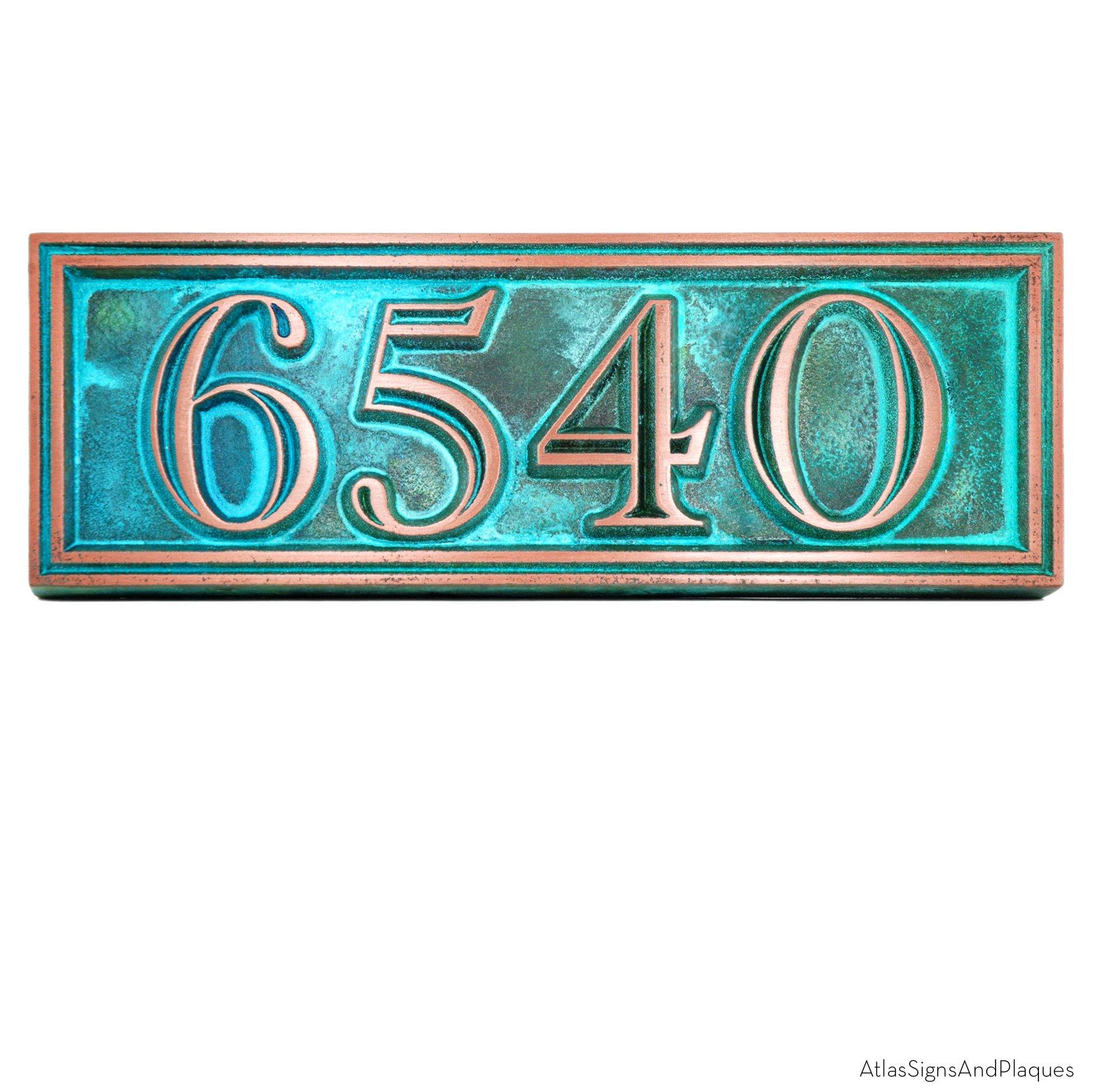 Hesperis Address Plaque 13'' x 4.5'' - Raised Copper Verdi Coated