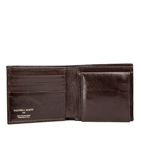 07d9a90770fc Maxwell Scott® Personalised Luxury Brown Bifold Wallet with Coins  (Ticciano)  Amazon.co.uk  Luggage