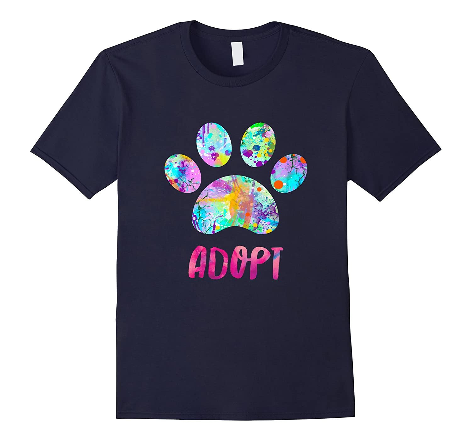 Adopt a Dog Shirt, Watercolor Rescue Dog Paw Print Tee Shirt-BN