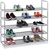 "Halter 5 Tier Stainless Steel Shoe Rack / Shoe Storage Stackable Shelves - Holds 15-20 Pairs Of Shoes - 35.75"" x 11.125"" x 34.25"" - Gray"