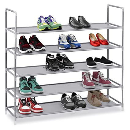 Halter 5 Tier Stainless Steel Shoe Rack/Shoe Storage Stackable Shelves - Holds 15-  sc 1 st  Amazon.com & Amazon.com: Halter 5 Tier Stainless Steel Shoe Rack/Shoe Storage ...