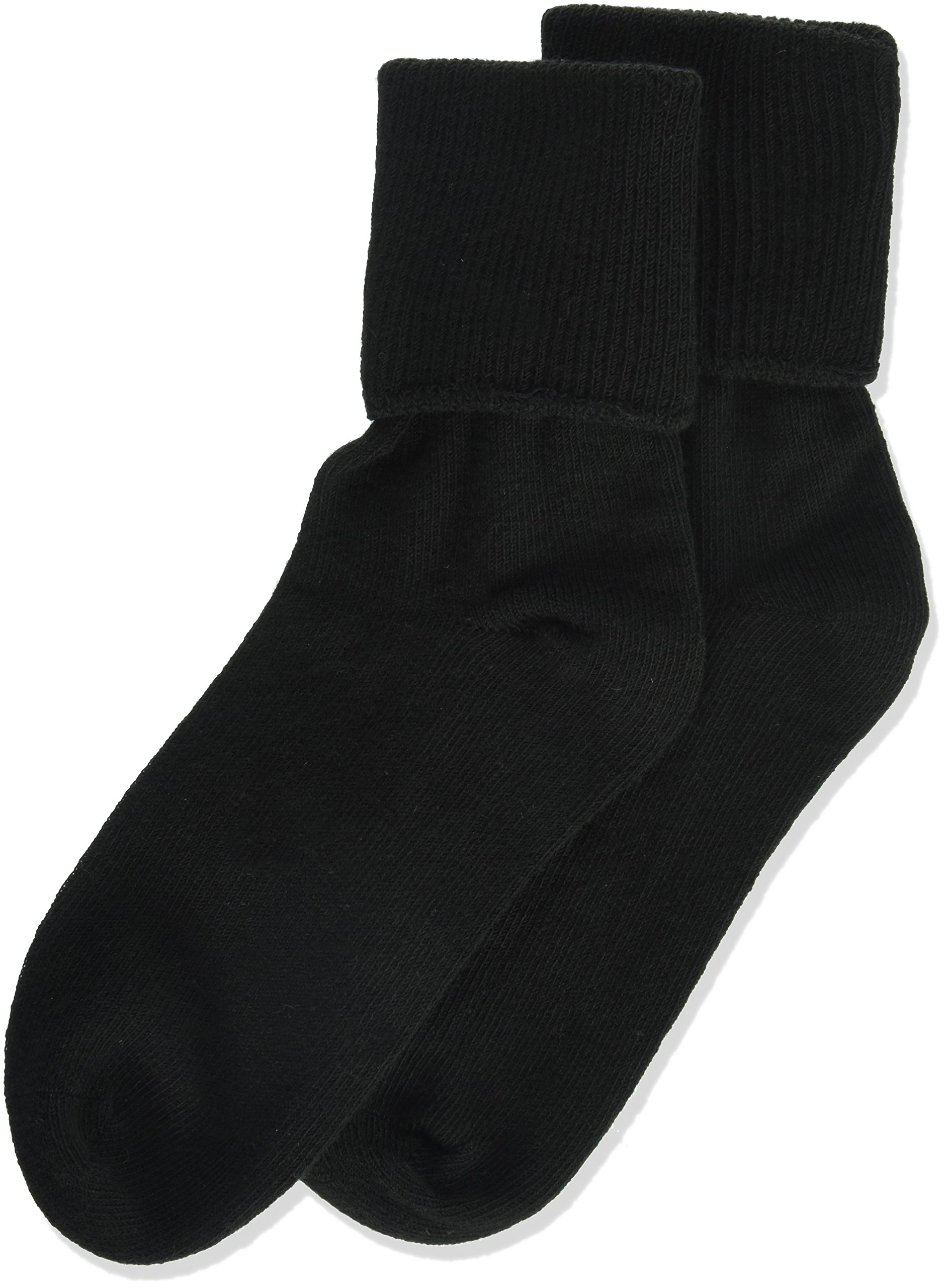Jefferies Socks Little Girls' Seamless Turn Cuff Socks (Pack of 6), Black, Small
