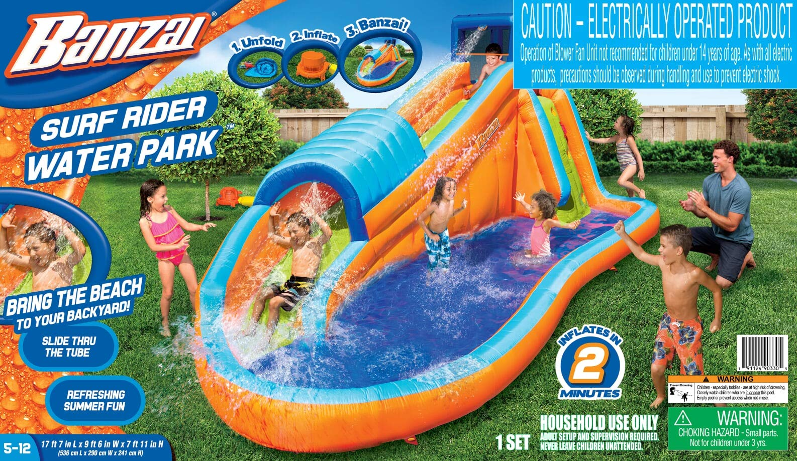 BANZAI 90330 Surf Rider Inflatable Backyard Outdoor Water Park with Blow Motor by BANZAI (Image #6)