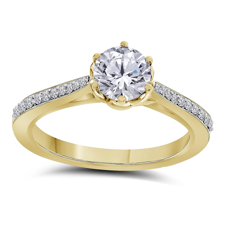 Beautiful White Simulated Diamond 14K Yellow Gold Gold Finish Six-Prong Engagement Ring Womens Jewelry