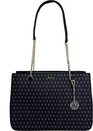 DKNY Large Coated Logo Shoulder Black Bag with Leather and Chain Handles   Amazon.co.uk  Clothing 1f21dfab7d1a4