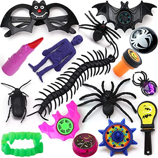 School Classroom Rewards THAWAY Halloween Party Favors Toys Assortment 100PCS Trick or Treating Halloween Miniatures Novelty Bulk Party Supplies Toys Halloween Prizes for Kids