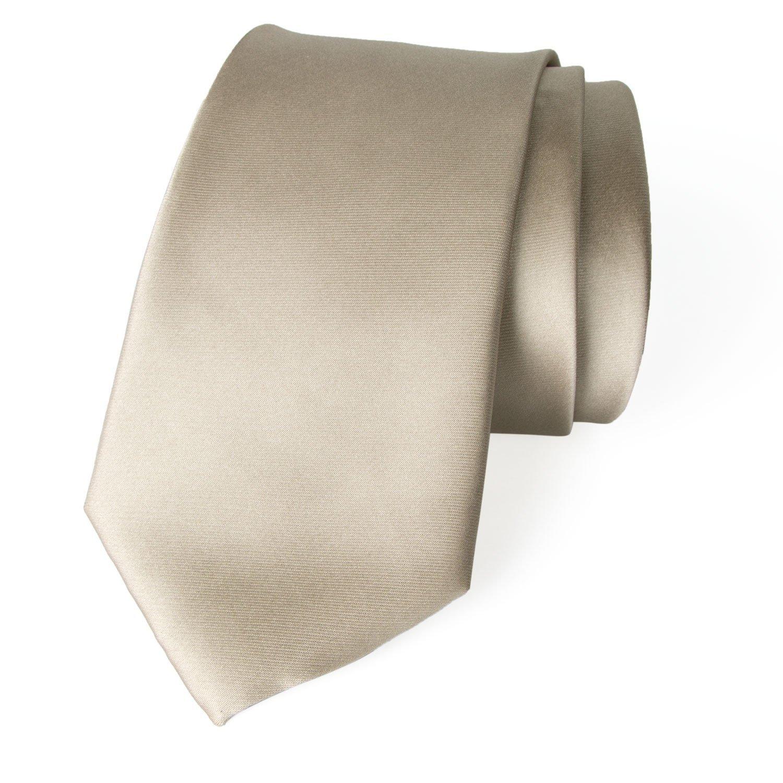 Spring Notion Men's Solid Color Satin Microfiber Tie, Skinny Champagne