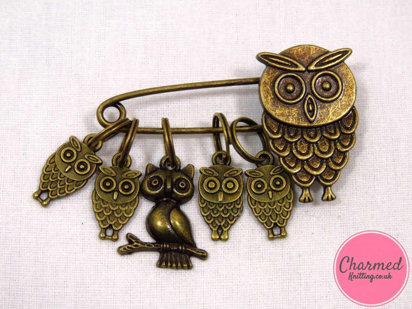 Owl Family Bronze Stitch Markers by Charmed Knitting