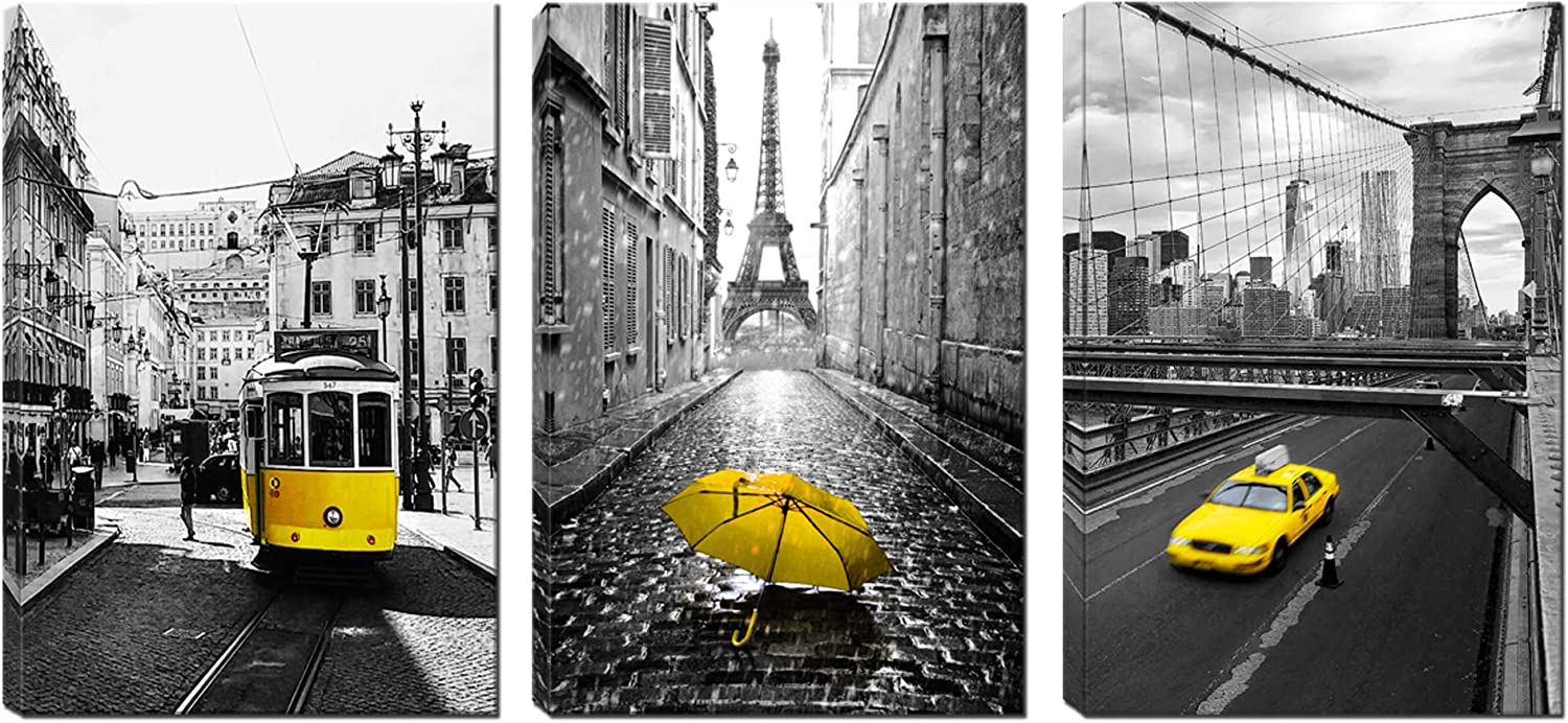 Paris Decor for Bedroom - Gray and Yellow Canvas Wall Art - Eiffel Tower Painting for Living Room - Brooklyn Bridge with Running Yellow Texi Wall Decor