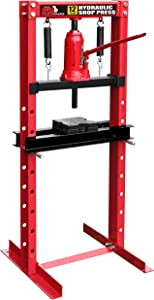 BIG RED T51201 Torin Steel H-Frame Hydraulic Garage/Shop Floor Press with Stamping Plates, 12 Ton (24,000 lb) Capacity, Red