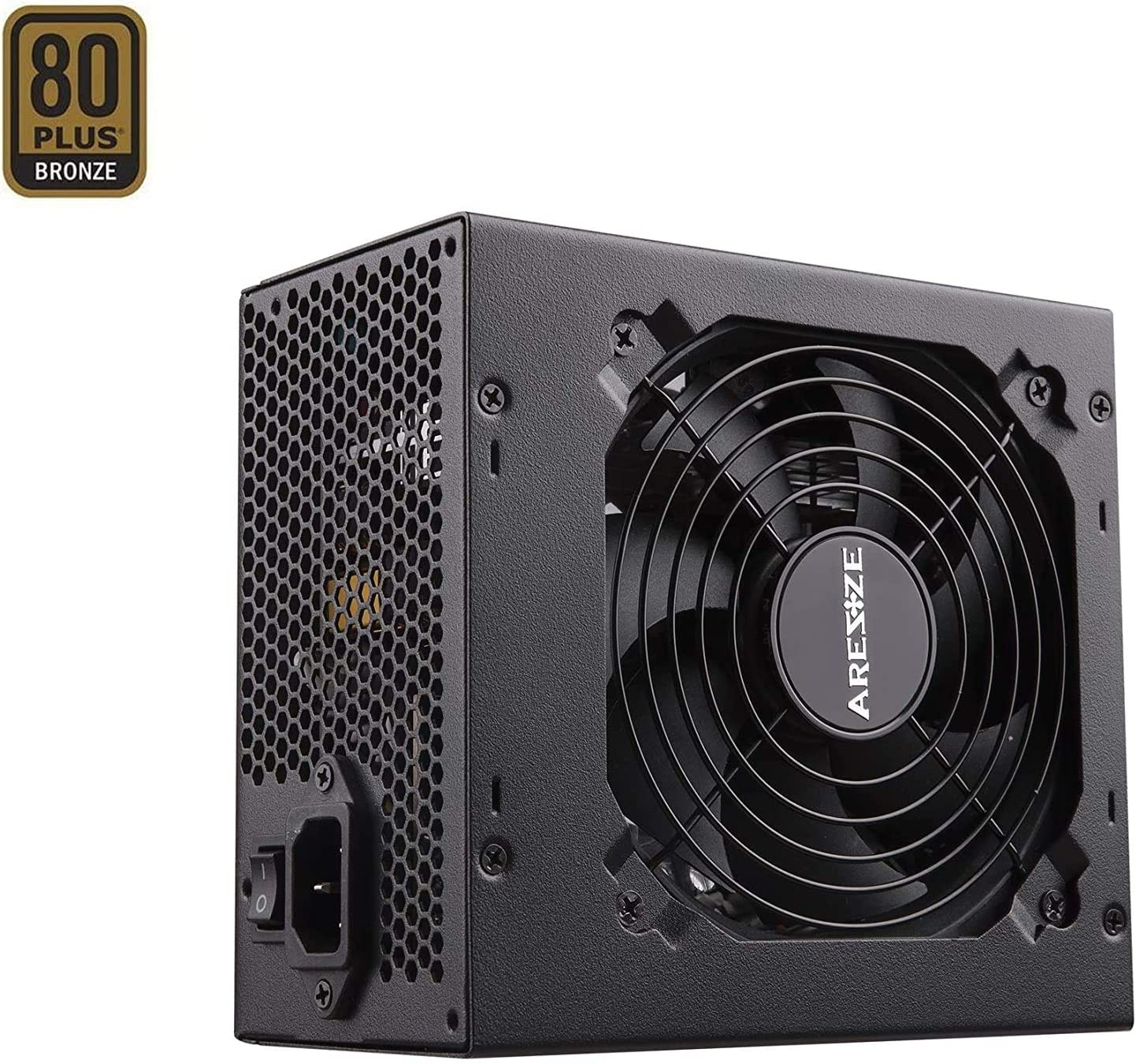 GOLDEN FIELD ARESZE 450W Semi Modular 80 Plus Bronze Power Supply ATX PC PSU with Low Noise Fan for Desktop Computer PC 450W