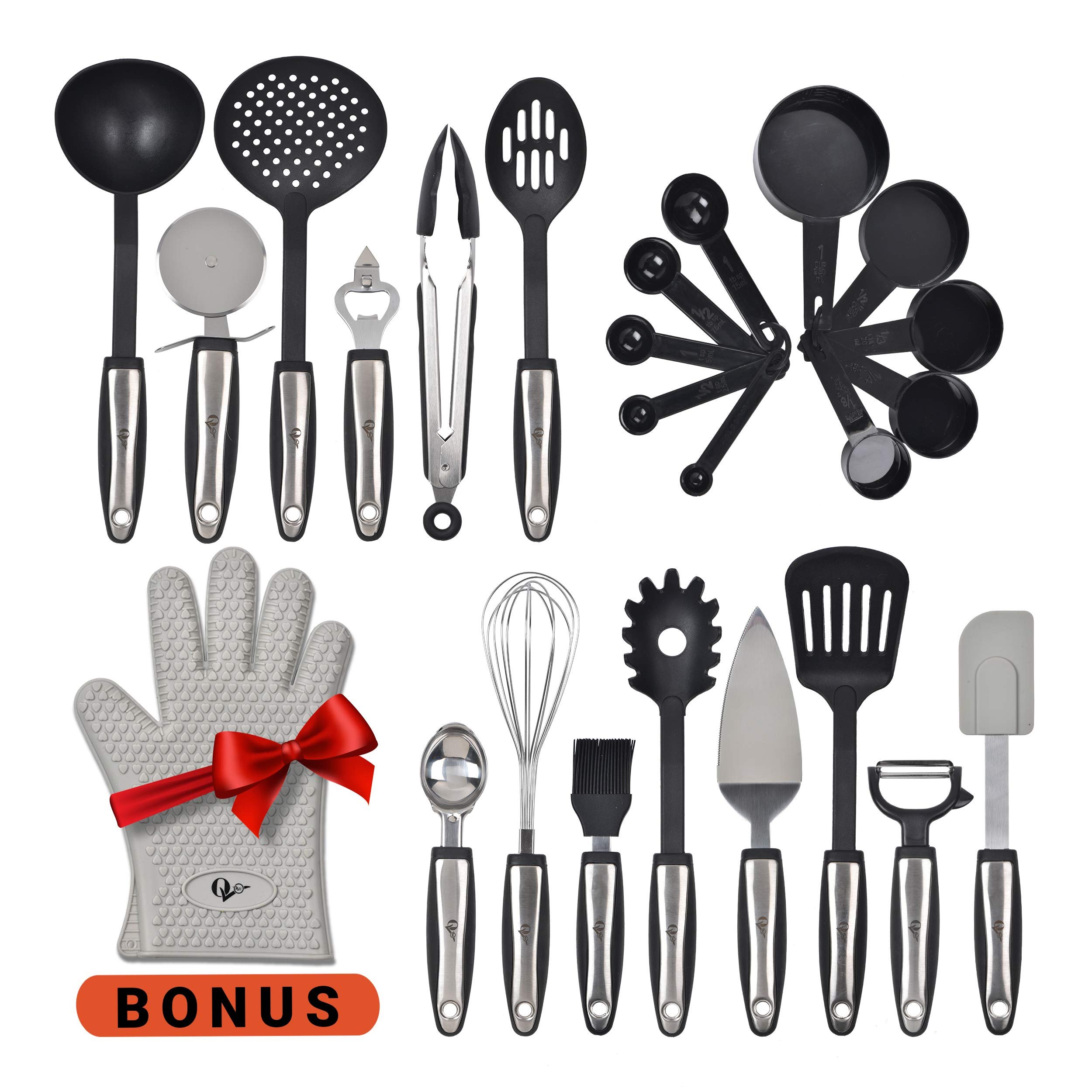 Kitchen Utensils 25 Pcs Set with Kitchen Tools and Kitchen Gadgets Made of Strong Stainless Steel and Nonstick Nylon - Heat Resistant - Everything You Need Cookware Set Plus Bonus Silicone Oven Glove by WH-SHOP