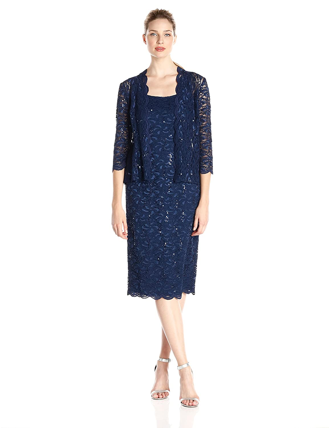 Navy Alex Evenings Women's TLength All Over Lace Dress with Jacket Set