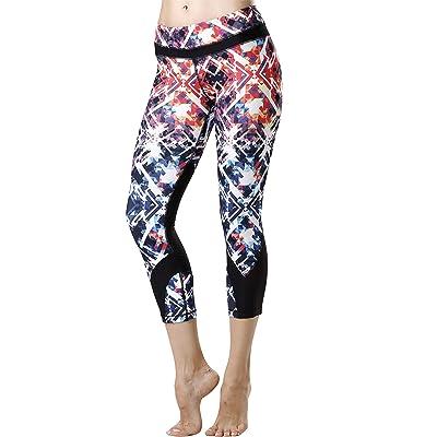 icyzone Women's Workout Pants Activewear Running Leggings Yoga Capris Sports Tights