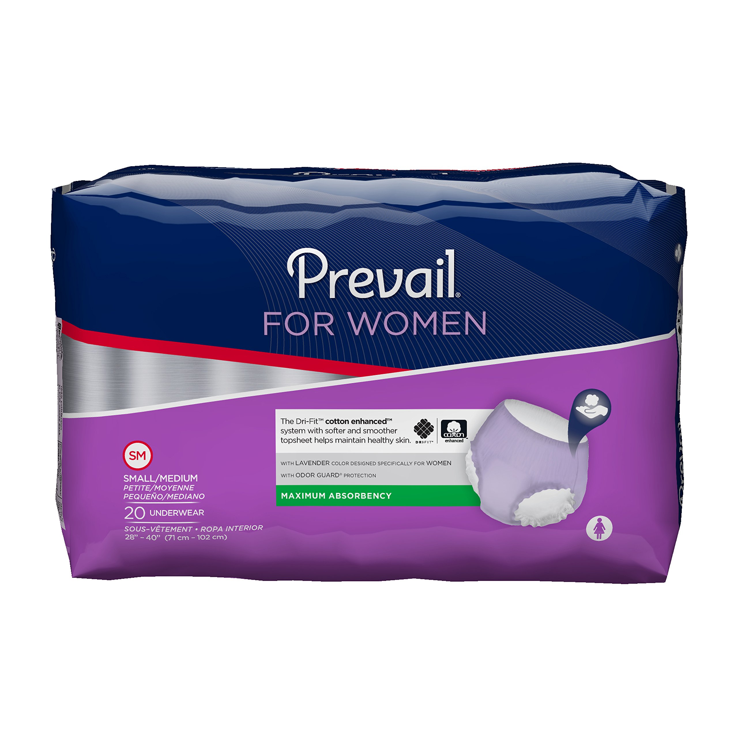 Prevail Maximum Absorbency Incontinence Underwear for Women, Small/Medium, 20-Count
