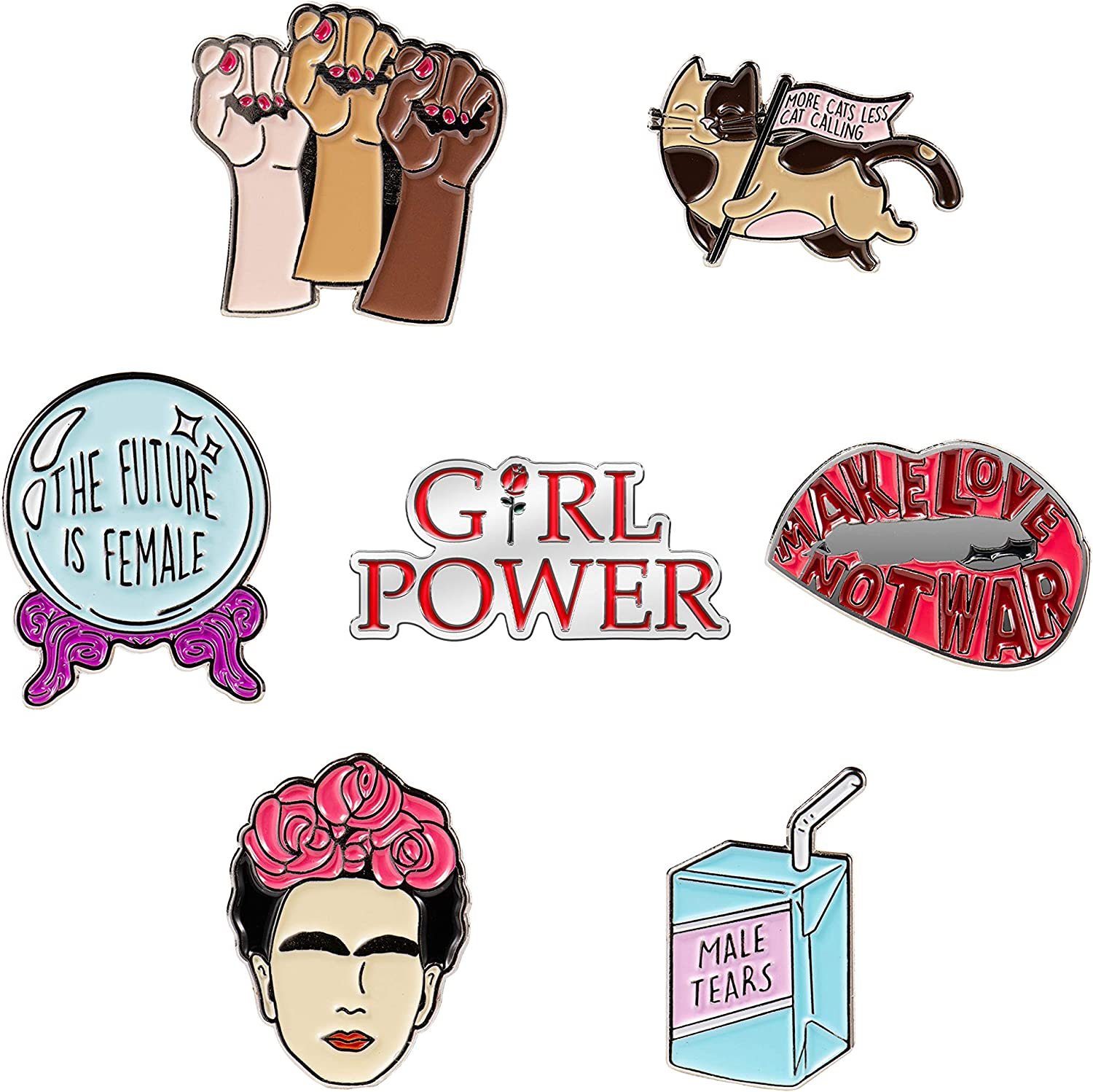 7 Cute Enamel Pins For Backpacks | Enamel Pin Set For Feminist Gifts | Cute Pins | Backpack Pins | Cat Pins | Funny and Cool Pins (Set 1)