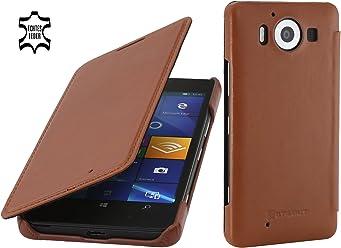 StilGut Book Type sans Clip, Housse en Cuir pour Microsoft Lumia 950 & Lumia 950 Double SIM, Cognac