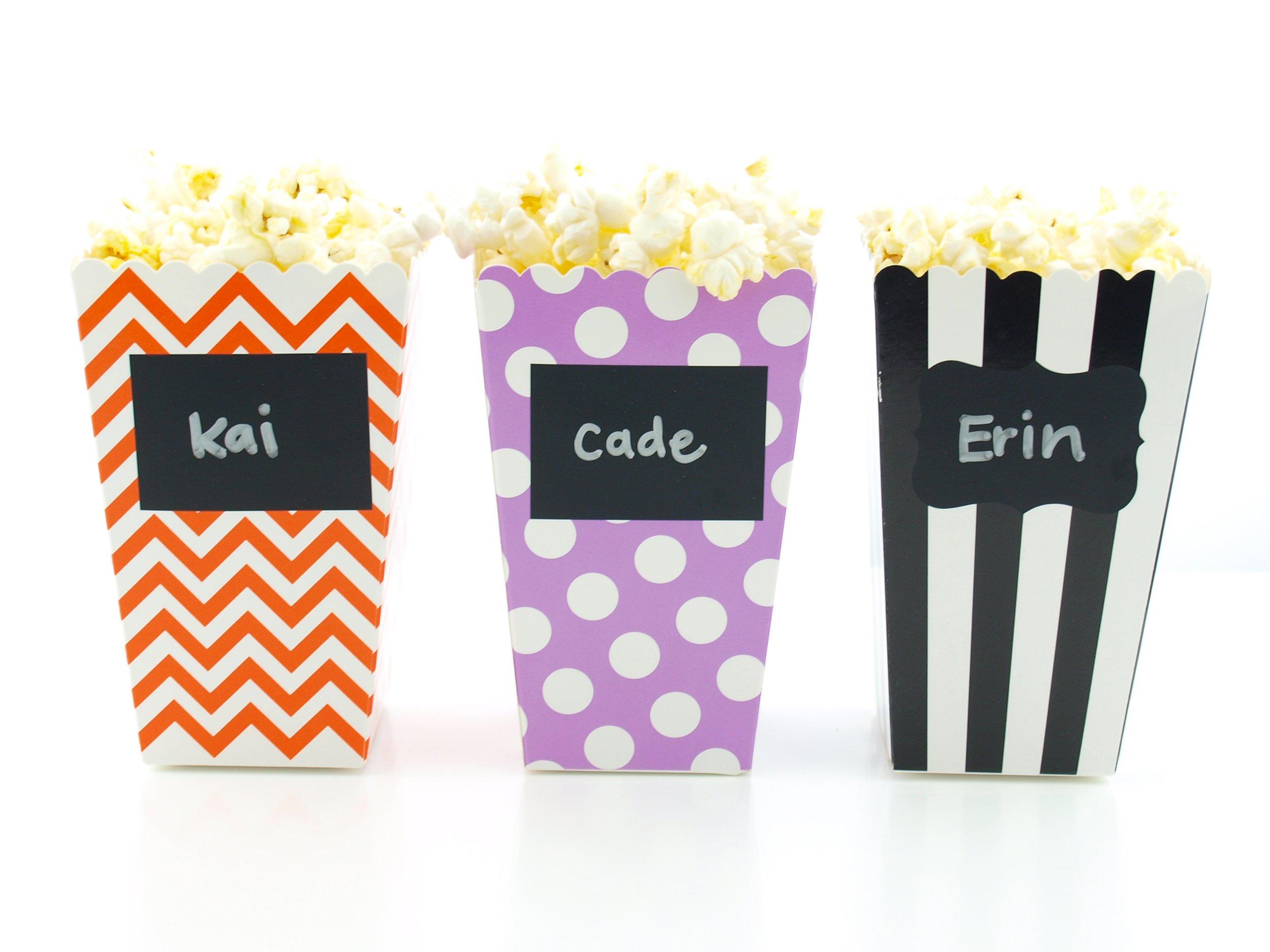 Halloween Candy or Popcorn Boxes & Black Label Chalkboard Vinyl Stickers (36 Pack) - Modern Black, Orange & Purple Halloween Favors, Mini Movie Theater Tub Popcorn Halloween Boxes