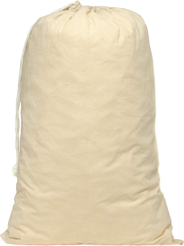 Aura - Pack de 3 bolsas de algodón natural con cordón Tamaño: 50 x 75 cm (XL)