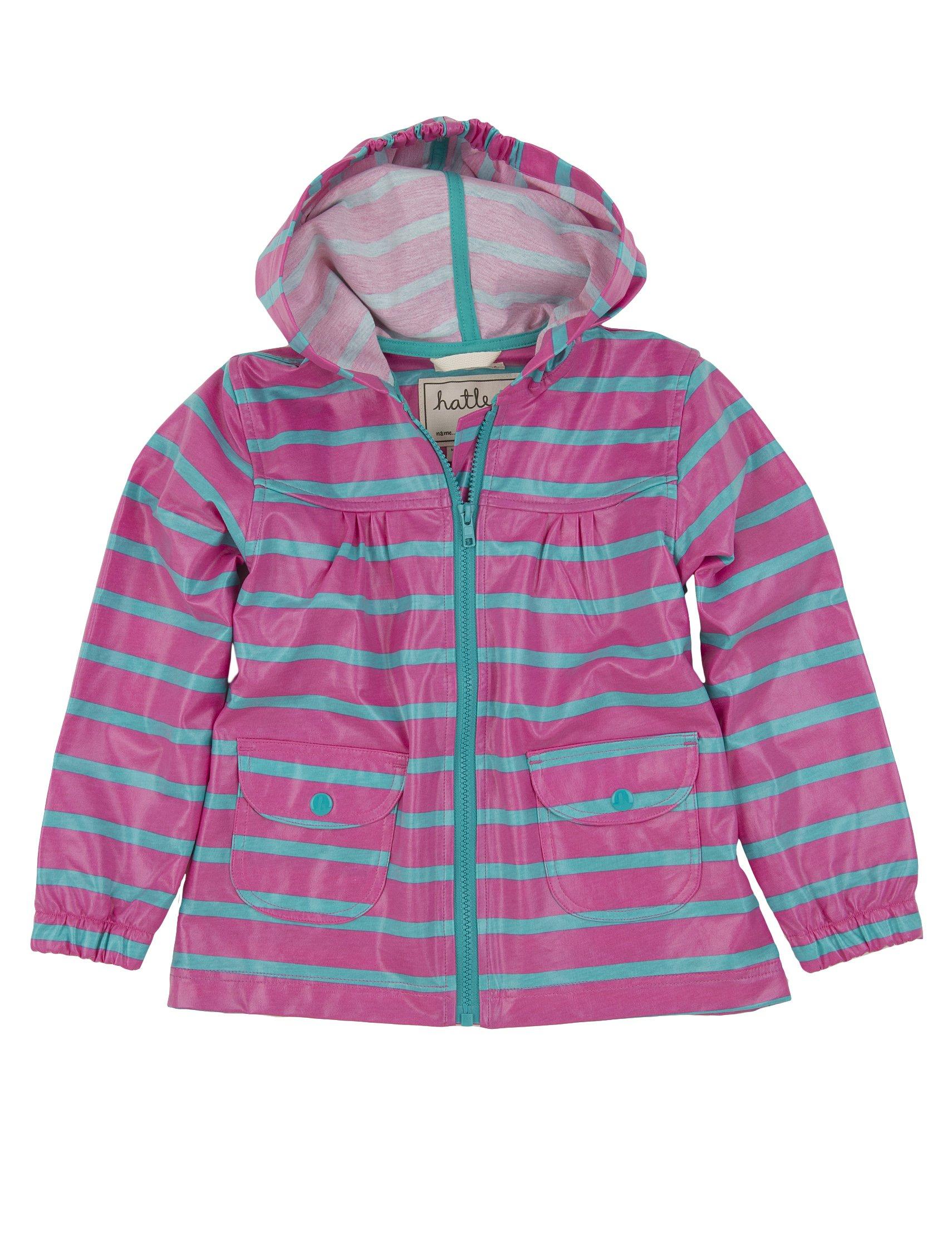 Hatley Little Girls' Unlined Stripes Raincoat, Pink Stripes, 5