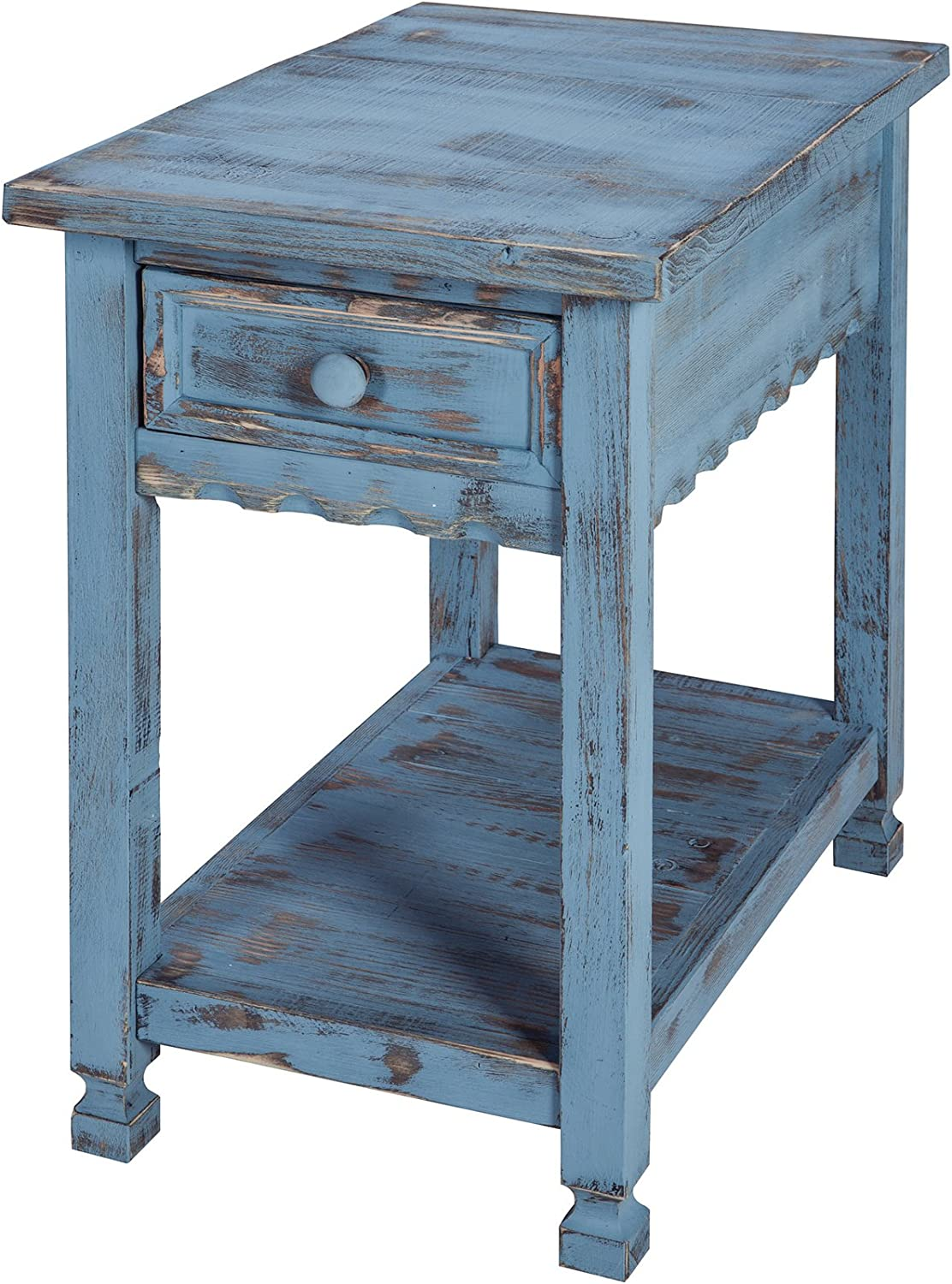 Rustic Cottage Chairside End Table with 1 Drawer and 1 Shelf, Blue Antique