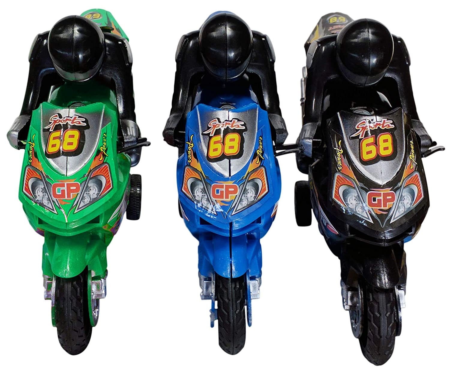 Best Assorted Colors 3 Pc Small Green Red Black Blue Toy Motorcycle Set for Boy Girl Fun Gag New Easter Basket Stuffer Gift Idea Under 20 Dollars Sale Little Kid Toddler Youth Child Son Brother