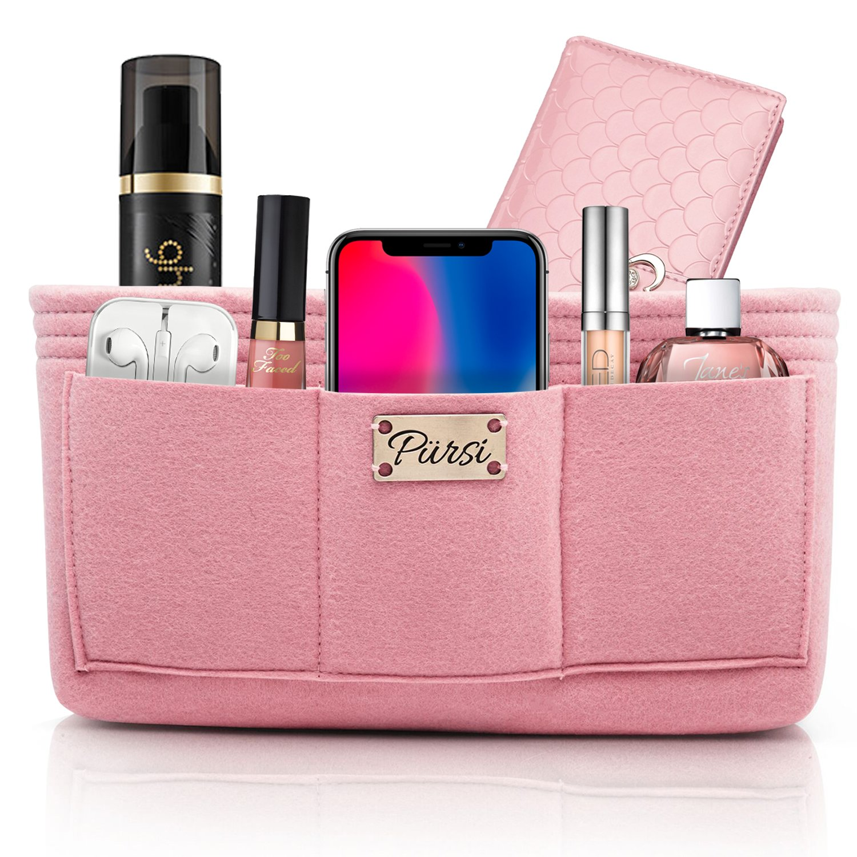 Pursi Handbag Purse Organizer Insert - Felt Fabric Multi Compartment Design
