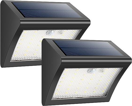 HETP Foco Solar Exterior 38 Leds Luz Solar Jardín,Luces Sensor de Movimiento Impermeable Seguridad Luces Solares 3 Modos Inteligente Luz Potente Brillante Blanca para Jardín, Escaleras(2 Piezas): Amazon.es: Hogar