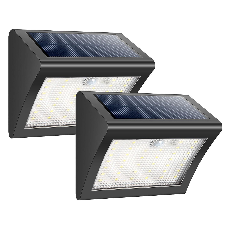 HETP Foco Solar Exterior 38 Leds Luz Solar Jard/ín,Luces Sensor de Movimiento Impermeable Seguridad Luces Solares 3 Modos Inteligente Luz Potente Brillante Blanca para Jard/ín 2 Piezas Escaleras