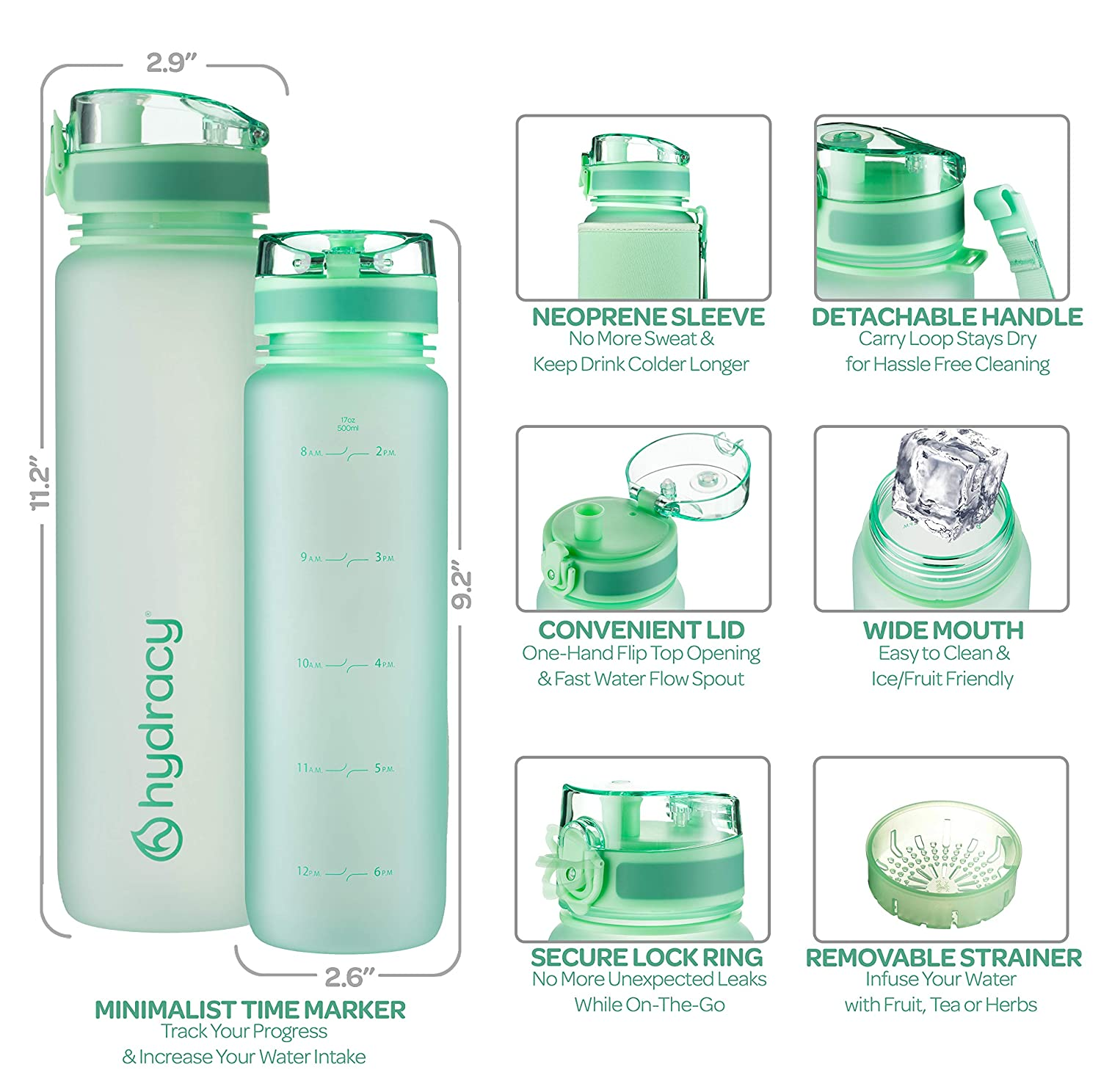 Leak Proof /& No Sweat Gym Bottle with Fruit Infuser Strainer Large 1 Liter 32 Oz BPA Free Water Bottle Hydracy Water Bottle with Time Marker Ideal for Fitness or Sports /& Outdoors