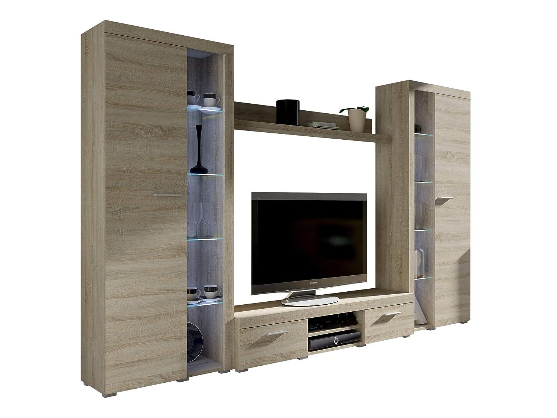 wohnwand rango xl modernes wohnzimmer set design anbauwand schrankwand mediawand vitrine tv lowboard sonoma eiche mit weisser led beleuchtung