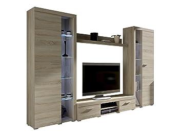 Wohnwand Rango Xl Modernes Wohnzimmer Set Design Anbauwand Schrankwand Mediawand Vitrine Tv Lowboard Sonoma Eiche Ohne Beleuchtung