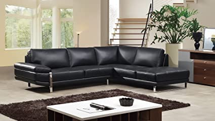 Beau American Eagle Furniture 2 Piece Top Grain Italian Leather Sectional, Sofa  U0026 Right Chaise,