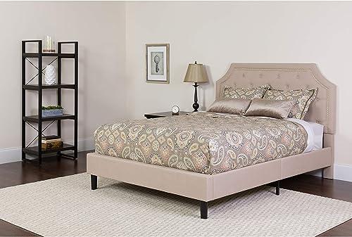 Flash Furniture Brighton King Size Tufted Upholstered Platform Bed in Beige Fabric, SL-BK4-K-B-GG