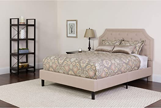 Amazon Com Flash Furniture Brighton Queen Size Tufted Upholstered Platform Bed In Beige Fabric Kitchen Dining