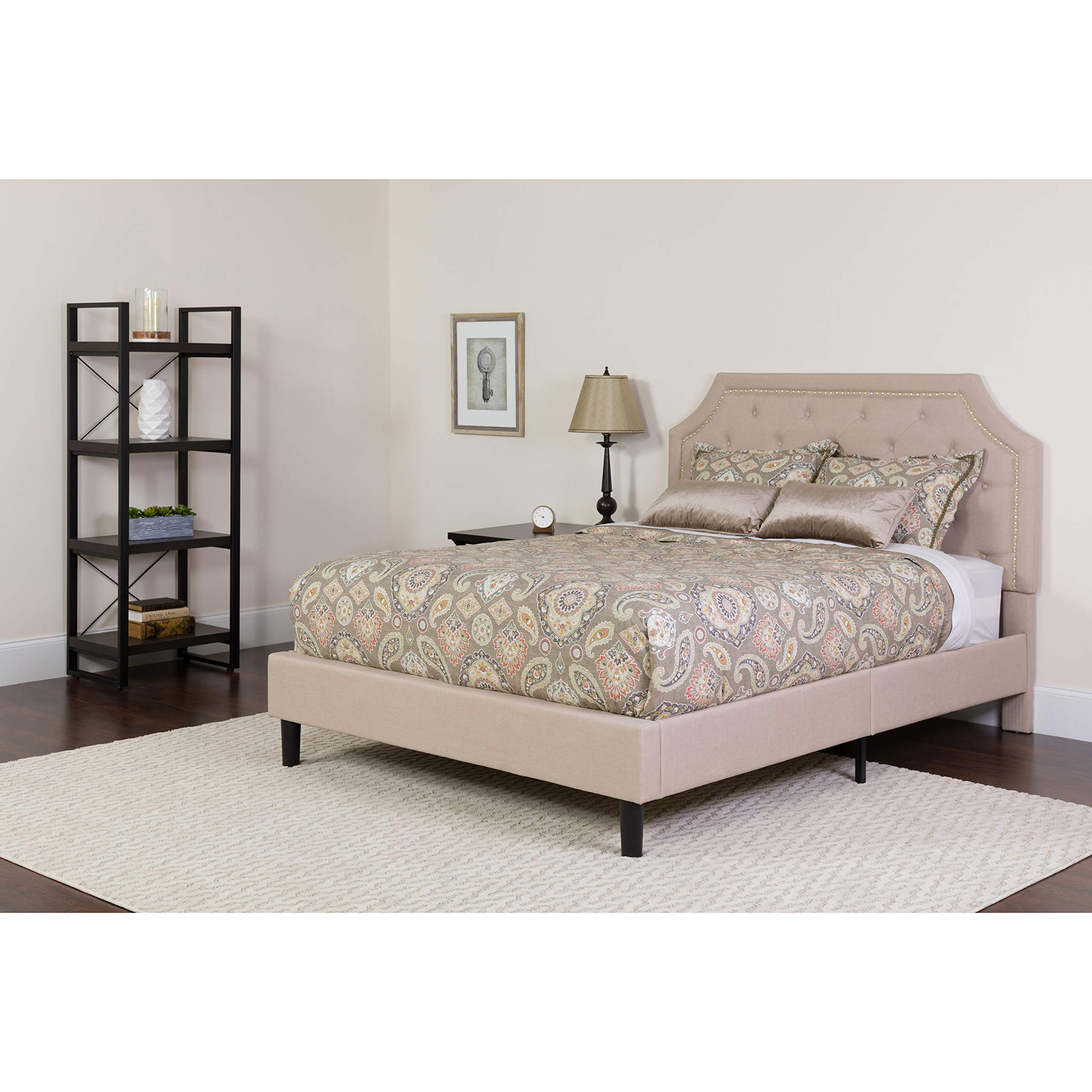 Flash Furniture Brighton King Size Tufted Upholstered Platform Bed in Beige Fabric by Flash Furniture