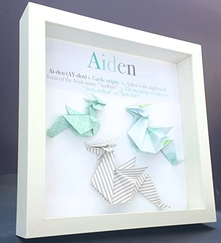 Personalized Name Origin And Meaning Baby Gift Paper Origami Dragon  Shadowbox Frame Custom Art Newborn Baby