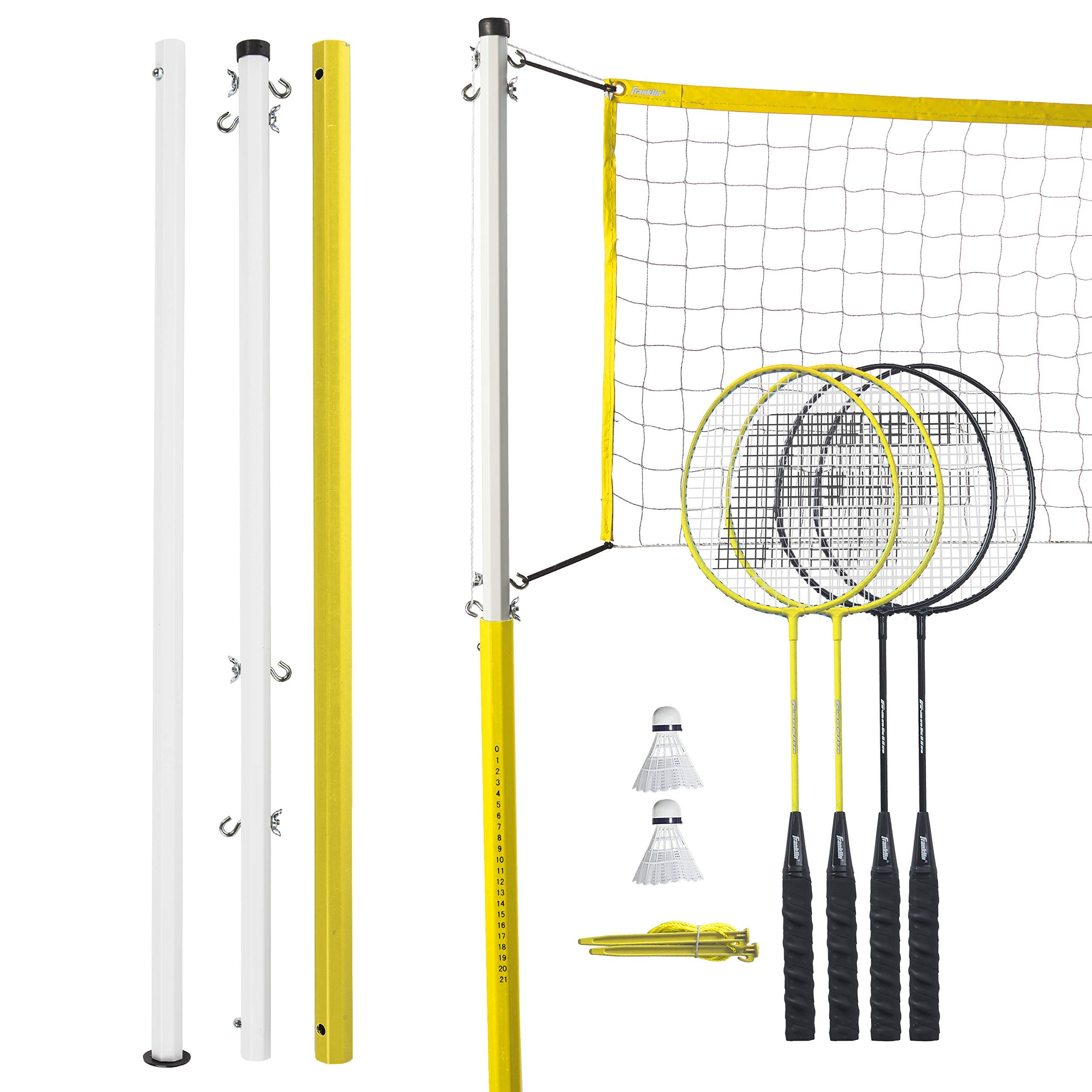 Franklin Sports Badminton Net Family Set - Includes 4 Steel Rackets, 2 Birdies, Adjustable Net and Stakes - Backyard or Beach Badminton Set - Easy Net Setup (Renewed)