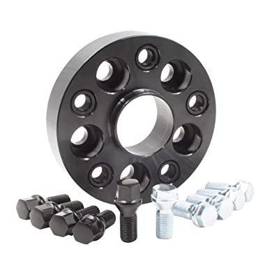 Wheel Spacer - Bolt-On Spacer Kit - 5x112 (30mm) 66.56m w/M14 1.25 Blk Bolt: Automotive