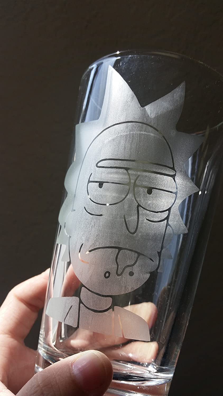 Cartoon Character Pint Glass Hand Etched Beer Cup