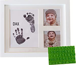 Ultimate Baby Ink Handprint Footprint Kit & Frame – with Premium Stencil to Personalize, Photo Picture Frame, Safe Ink Pad Stamp, Paper & Gift Box. for Baby Shower, Newborn, New Mom, Registry Gift.