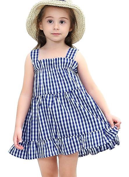 Happy Cherry - Vestido Camisero Niñas Bebés Ropa de Verano Estampado Cuadros Vestido de Tirantes Infantil